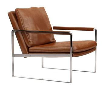 Harvey Modern Full Grain Italian Leather Accent Chair