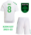 Kids Austin FC 2021-22 Secondary Football Kit Soccer Kit With Free Name & Number