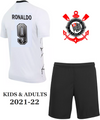 Kids Corinthians 2021-22 Home Football Kit Soccer Kit With Free Name & Number