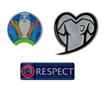 Set of 3 Patches – EURO 2020 Patch + Heart Patch + New Respect Size – Player Issue Size