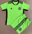 Kids Mexico 2021-22 Green Goalkeeper Football Soccer Kit With Free Name&Number