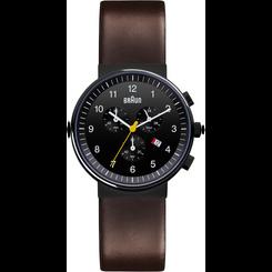 Braun - Men's BN-35BKBRG Analog, chronograph, Black dial, brown leather band