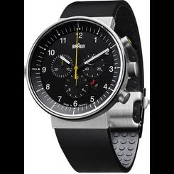 Braun - Men's Prestige Analog Watch - Swiss chrono movement, black rubber strap