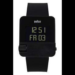Braun - Men's BN-106BKBKG Prestige Digital Watch - Black Steel Case, Black Rubber Strap