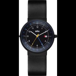 Braun - Men's BN-142BKBKG GMT Analog, black dial, black leather band