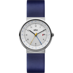 Braun - Men's BN-142WHBLG GMT Analog, white dial, blue leather band