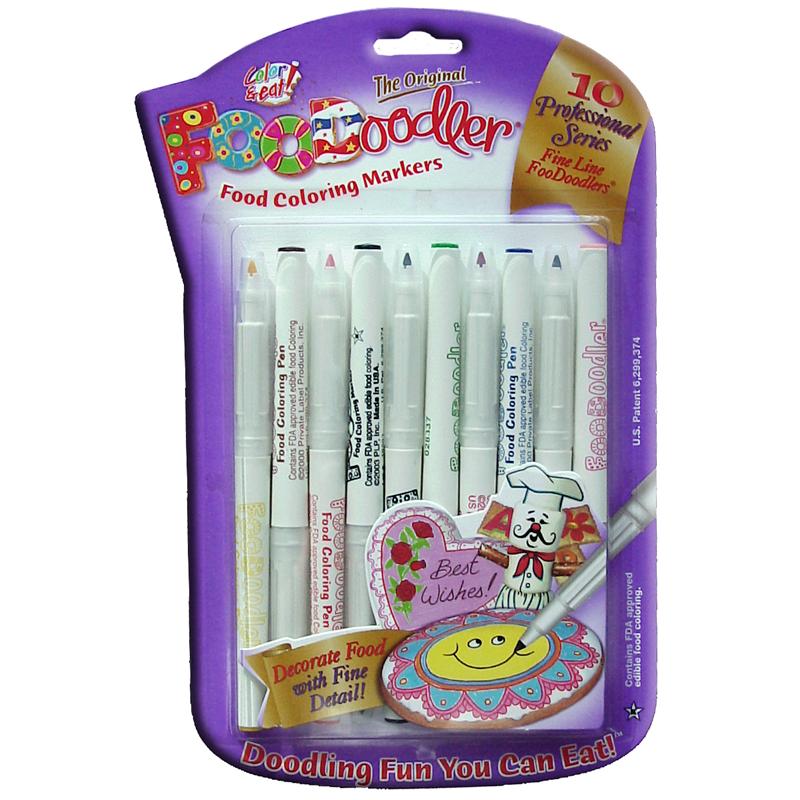 FooDoodler Fine Line Edible Marker, 10 Assorted Colors