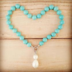 Bucasi Turquoise and Drop Pearl Pendant Necklace | Bucasi NP600TUR | Wood