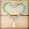 Bucasi Turquoise and Drop Pearl Pendant Necklace | Bucasi NP600TUR | Wood