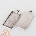 Rectangle Flat Alloy Pendants 38x19mm Antique Silver 10/pkg