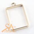 Open Frame Pendant Rectangle 33.5x21x3.5mm Gold-Plated 10/pkg