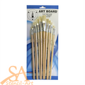 Artboard Hog Hair Long Handle Brush Set 12/pkg Flat