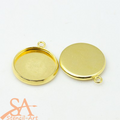 Brass Round Bezel Single Loop Connector Links 12mm Gold 10pcs