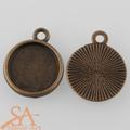 Alloy Round Single-Sided Bezel Single Loop Connector Links 12mm 10/pkg - Antique Bronze