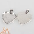 Heart-shaped Flat Pendant –  Antique Silver 23x23mm 10pcs