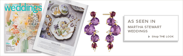 18K Gold and Amethyst Earrings featured in Martha Stewart Weddings
