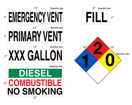 AST Diesel High Performance Graphic Kit - NFPA & Tank Decals