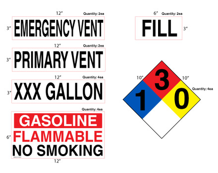 AST Gasoline High Performance Graphic Kit - NFPA & Tank Decals