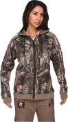 Lady's Sherbrooke HD Plus Camo/Tan Trim Thermal Fleece Hooded Jacket W/Front Zipper
