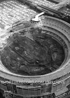 """Shea Stadium Construction, 1963"" 40x30 Mounted Canvas Print"