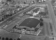"""Teaneck Armory from Above, 1964"" 30x40 Mounted Canvas Print"