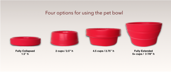 Four options for using the pet bowl w/specs.