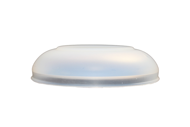 Side view of translucent silicone serving bowl lid.