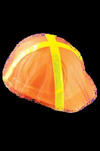 Occunomix V896-RO Safety Helmet Mesh Hi Viz Cap Style Cover (Orange with Lime Stripes)