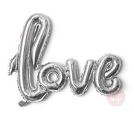Silver Cursive Love Script Foil Balloon