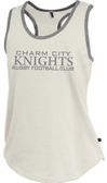 Charm City Knight Ladies-Cut Racerback Tank, Antique White