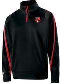 Grove City Men 1/4-Zip PolyStretch Pullover, Black/Red