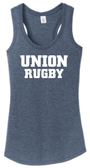 Union Rugby Ladies-Cut Racerback Tank, Navy Frost