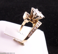 1 1/3 Carat Marquis Diamond Ring, Channel Set In 14k Yellow Gold