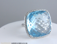 Unique Blue Topaz & Diamond Cocktail Ring, in 14k White Gold