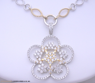 3 1/4ct Diamond Flower Drop Necklace