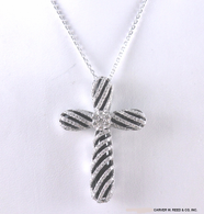 Diamond & Onyx Cross Pendant Necklace, in 18k White Gold