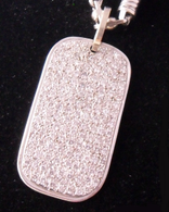 5 1/2 Carat Pave Diamond Dog-Tag Necklace Pendant