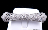Art Deco Antique Style Diamond Pin, in 18k White Gold