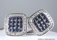 3 1/3 Carat Sapphire & 1 1/3 Carat Diamond Cufflinks, in 18k White Gold
