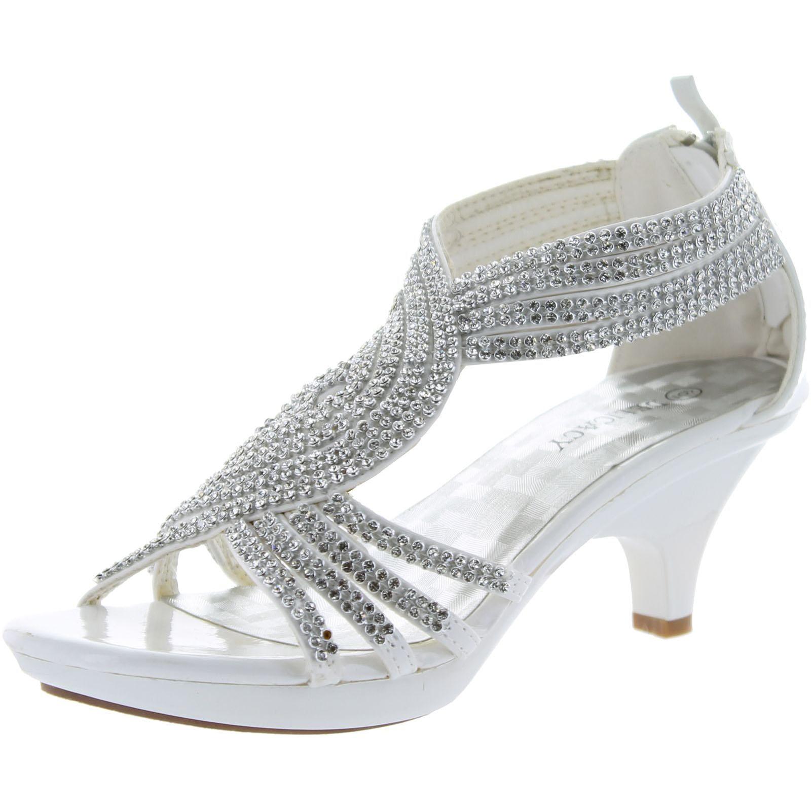 02d791af497 Static Footwear Delicacy Womens Angel-37 Strappy Rhinestone Dress Sandal  Low Heel Shoes