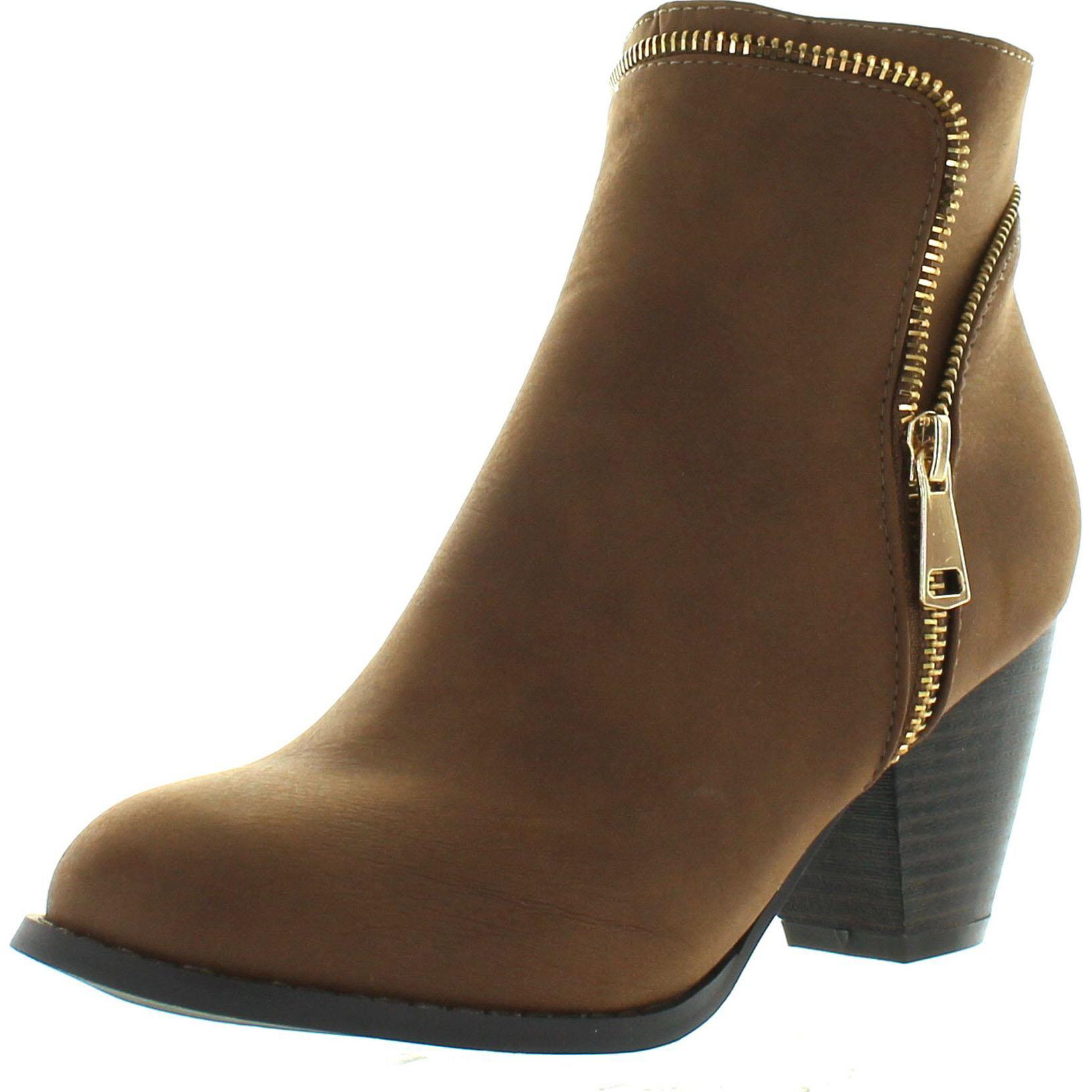 aa8cb19d03bb Top Moda TAIL-4 Women s Zippper Trim Stacked Block Heel Ankle Booties