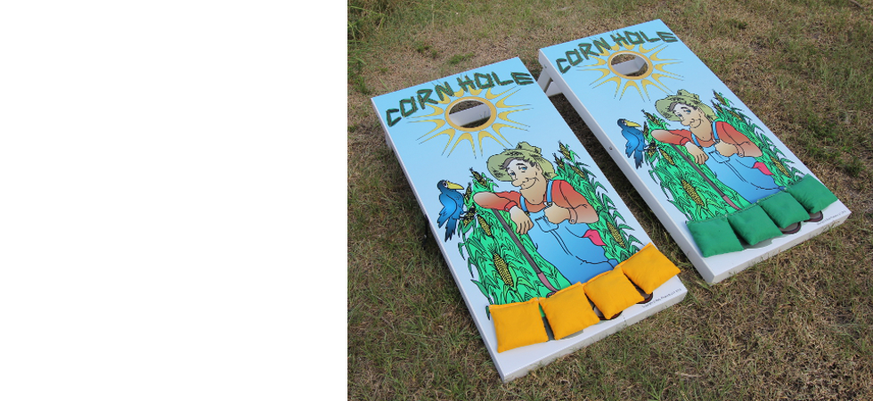 Slimline Cornhole Board Set with Farmer Graphics