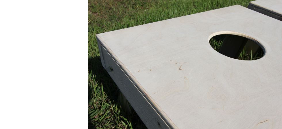 Sanded and rounded edges of cornhole boards