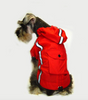 Water resistant hooded dog's raincoat with reflective trim - showing back pocket feature