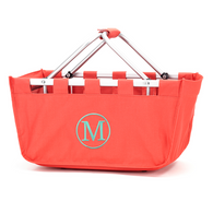 Coral Collapsible Market Tote with Monogram