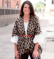 Leopard Print Reversible Kennedy Shawl Scarf