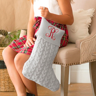 Embroidered Gray Cable Knit Christmas Stocking