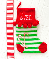 Personalized Green Stripes Pom Pom Christmas Stocking