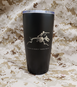 20 ounce stainless steel tumbler with spill resistant clear plastic lid.