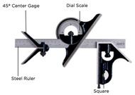 Asimeto 4 Piece Combination Square Set w/4R Ruler - 7490214